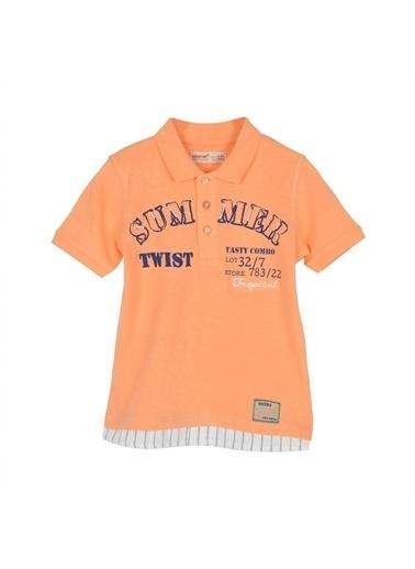 Silversun Kids Erkek Çocuk Baskılı Düğmeli Kısa Kollu Polo Yaka Tişört Bk 215361 Oranj